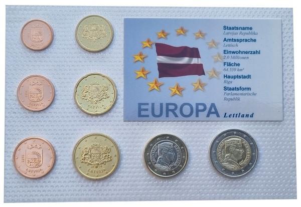 Lettland 3,88 Euro Kursmünzensatz 2014 Bankfrisch in Noppenfolie verschweist