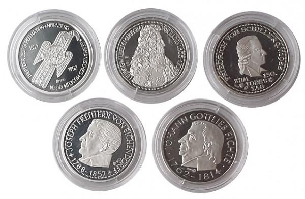 Silbermedaillen: Die ersten 5 DM Münzen in Silber 2004 Polierte Platte