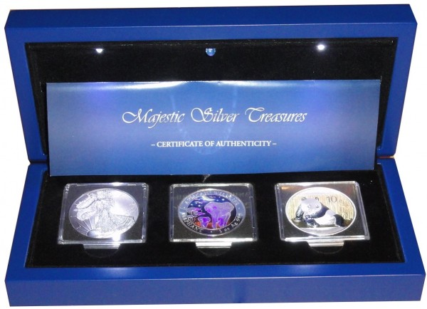 Majestic Silber Treasures 3 x 1 Oz Silber China Panda, Somalia Elefant u. USA Silber Eagle