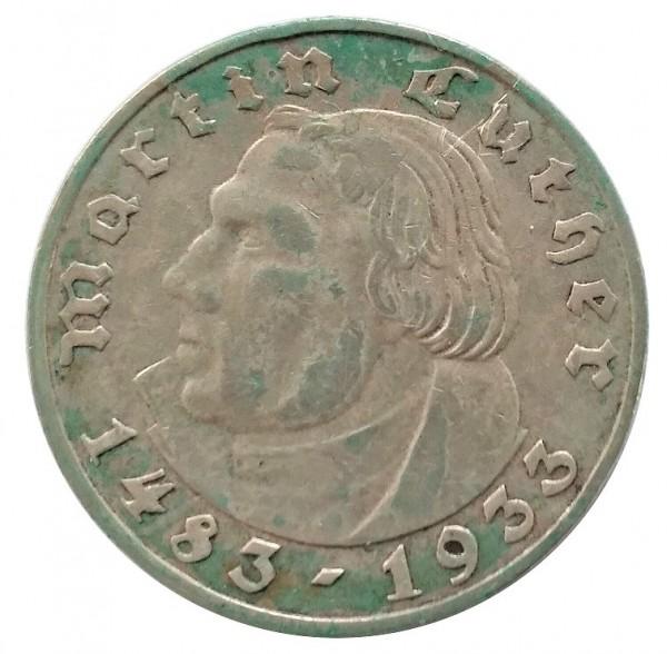 Deutsches Reich 2 Reichsmark Silber Martin Luther 1933 A