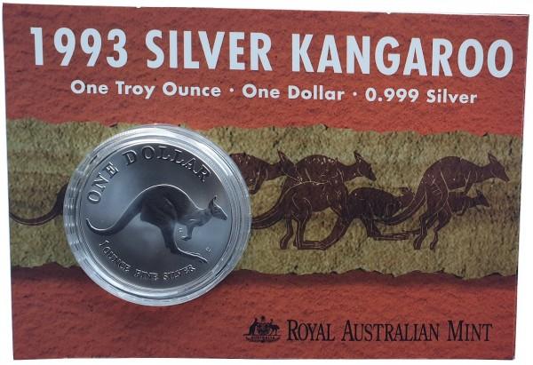 1 Oz Silber Känguru 1993 im Blister - Frosted Proof aus Australien
