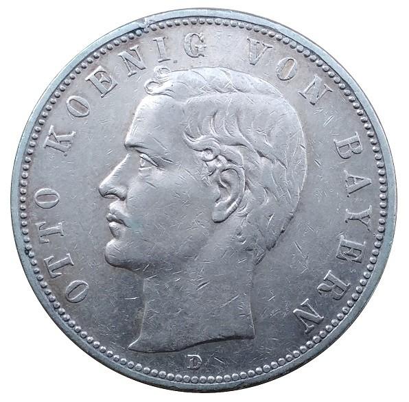 Deutsches Kaiserreich 5 Mark Silber Otto König von Bayern 1908 D