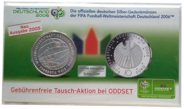 BRD: 10 Euro Silber Gedenkmünze 2005 - Fussball WM 2006 in Deutschland im Blister