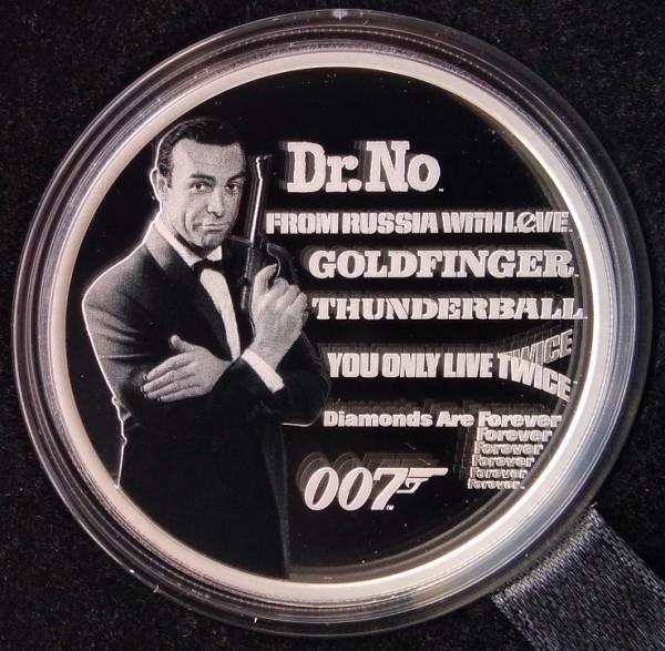 Tuvalu 1 Oz Silber James Bond 007 Sean Connery 2021 Polierte Platte