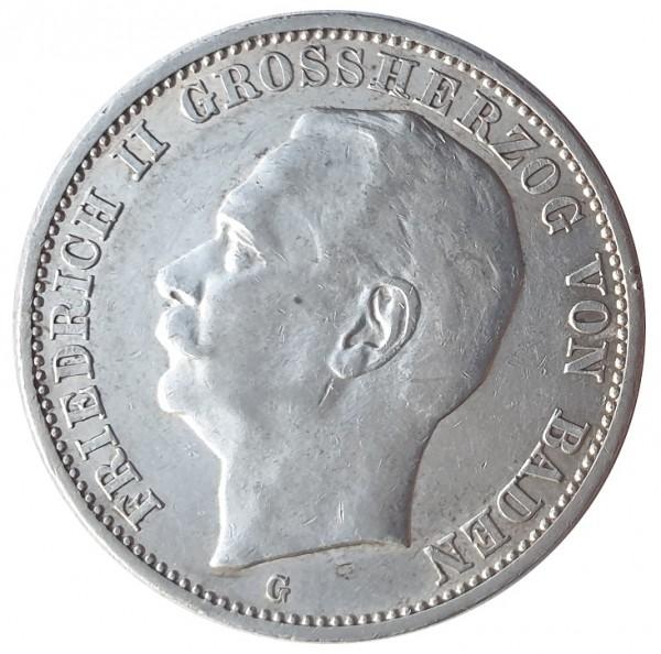 Deutsches Kaiserreich 3 Mark Silber Friedrich II Großherzog von Baden 1914 G