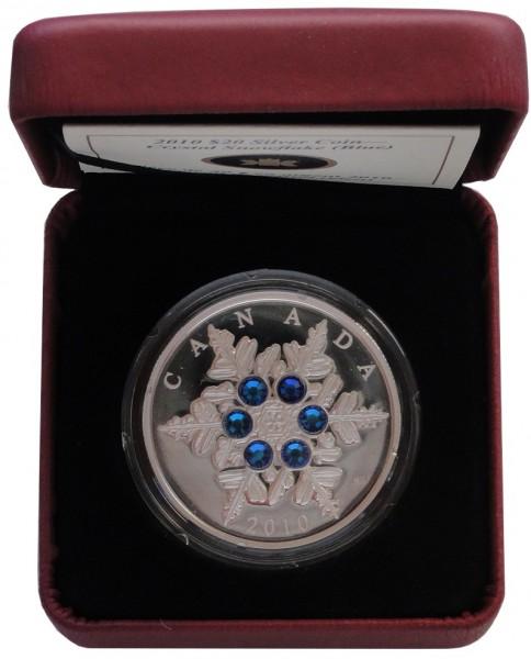 Canada 20 Dollars 1 Oz Silber Crystal Snowflake (Schneeflocke) Blau 2010 PP im Etui