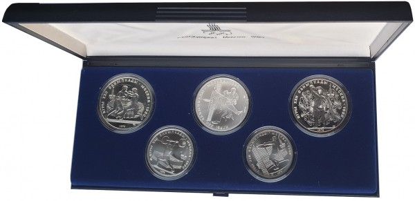 40 Rubel Silbermünzen - Satz Olympiade 1980 Moskau im Etui