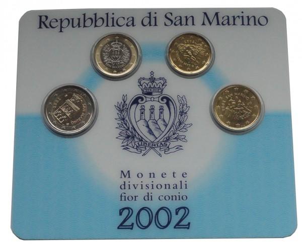 Original San Marino 3,70 Euro Mini - Kursmünzensatz 2002 im Blister