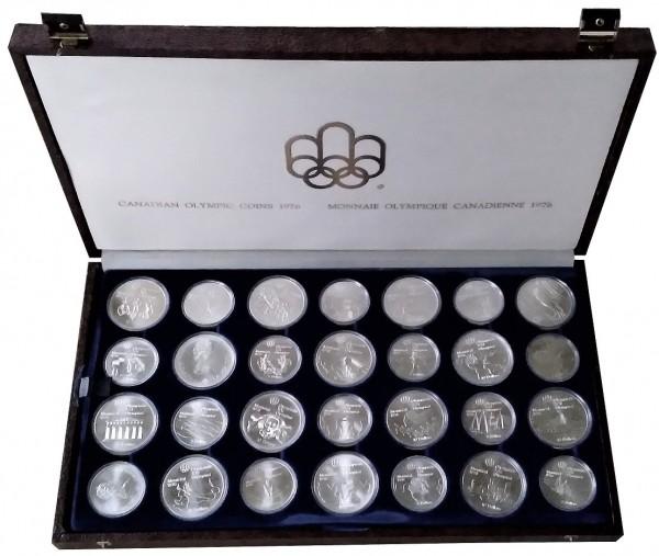 Canada 28 Silbermünzen Olympiade Montreal 1976 Komplettsatz in Münzkassette