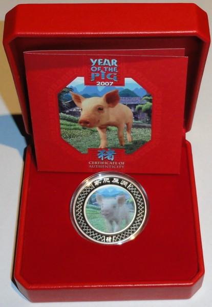 Australien 1 Oz Silber Lunar Schwein 2007 Hologramm im Etui
