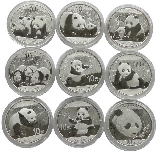 China 9 x 10 Yuan Silber Panda Sammlung 2010 - 2018