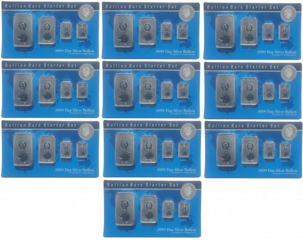 10er Sparpaket: Silberbarren - Münzbarren Cook Inseln Bounty 85 gr Silber Starter Set im Blister