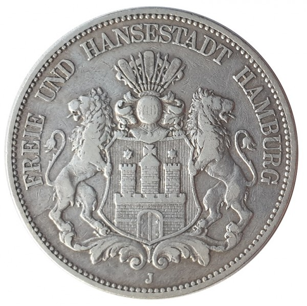 Deutsches Kaiserreich 5 Mark Silber Freie und Hansestadt Hamburg 1876 J