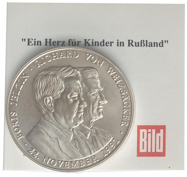 Silbermedaille 38 gr 999/1000 Silber - Ein Herz für Kinder in Russland 1991