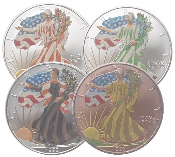 USA 4 x 1 Oz Silber Eagle 1999 in Farbe - 4 Jahreszeiten Sommer, Frühling, Herbst und Winter