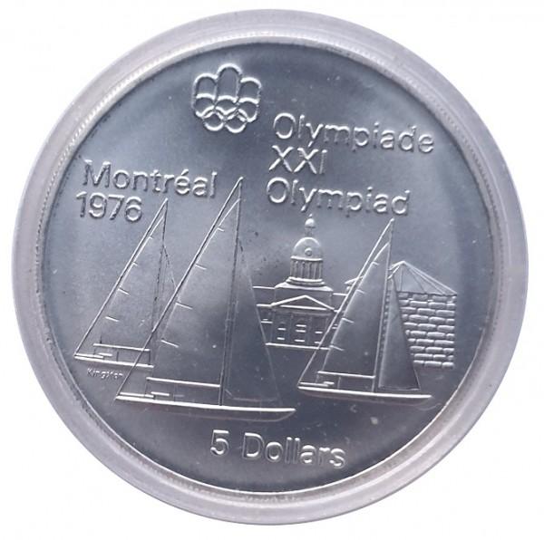 Canada 5 Dollars Silbermünze Segeln 1973 Olympiade Montreal 1976