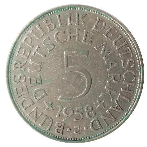 5 DM Silberadler 1958 J - Seltener Jahrgang! RARITÄT