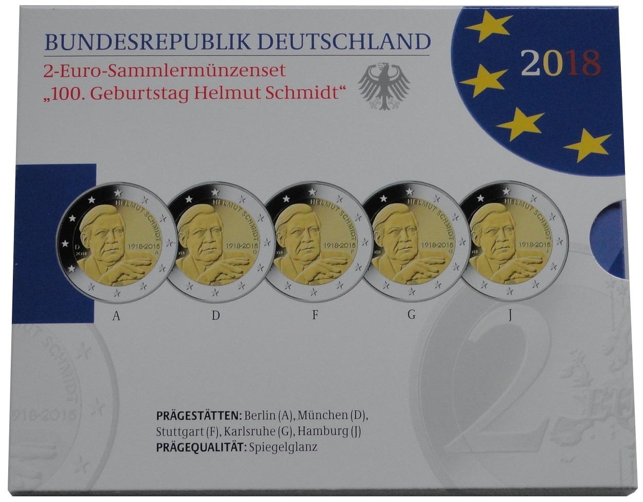 brd 5 x 2 euro gedenkm nzen set helmut schmidt 2018. Black Bedroom Furniture Sets. Home Design Ideas