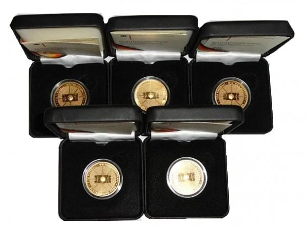 BRD 5 x 100 Euro Gold 2005 Fifa-Fussball WM 2006 Komplettsatz ADFGJ