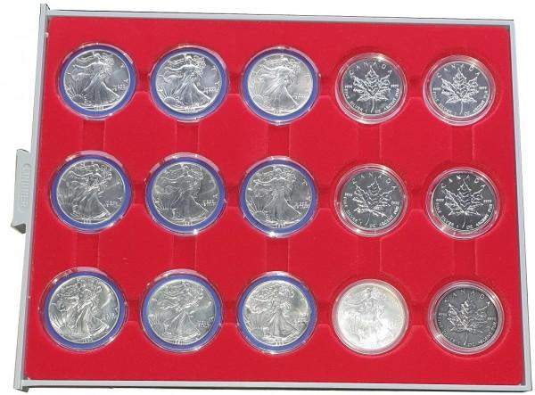 15 x 1 Oz Silber - Anlagemünzen Silber Eagle & Maple Leaf verschiedene Jahrgänge
