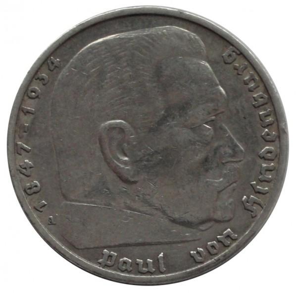 Deutsches Reich 5 Reichsmark Silber Paul von Hindenburg ohne Hakenkreuz
