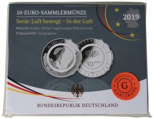 10 Euro in der Luft 2019 G Karlsruhe Polierte Platte mit farblosem Polymerring