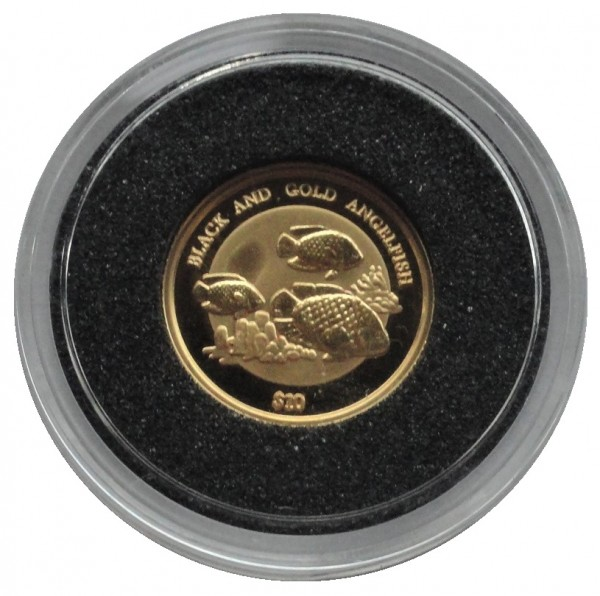 Niue 10 Dollars 1/25 Oz Goldmünze Black and Gold Angelfish 2000 Polierte Platte