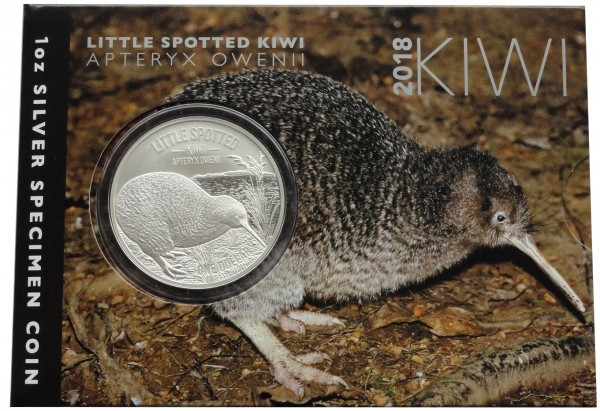 Neuseeland 1 Oz Silber Kiwi Little Spotted 2018 Reverse Proof- Like im Blister
