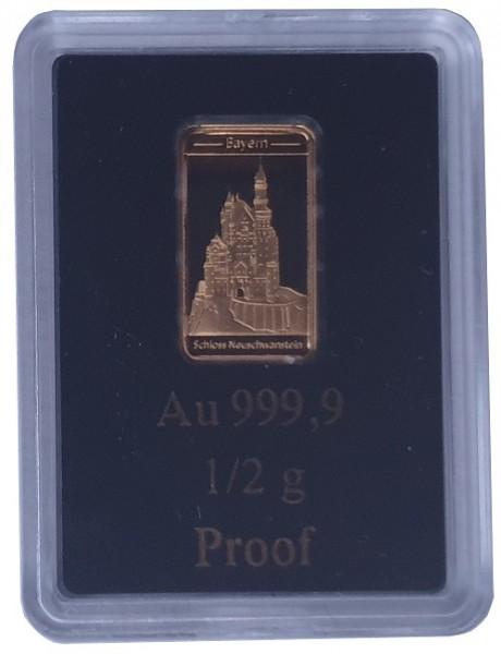 0,5 gr Goldbarren Schloß Neuschwanstein Polierte Platte LEV