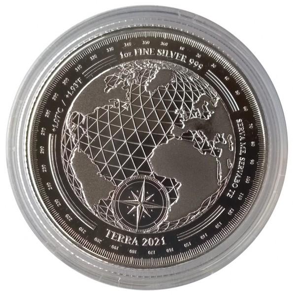 Tokelau 1 Oz Silber Terra - Erde 2021 Stempelglanz in Münzkapsel