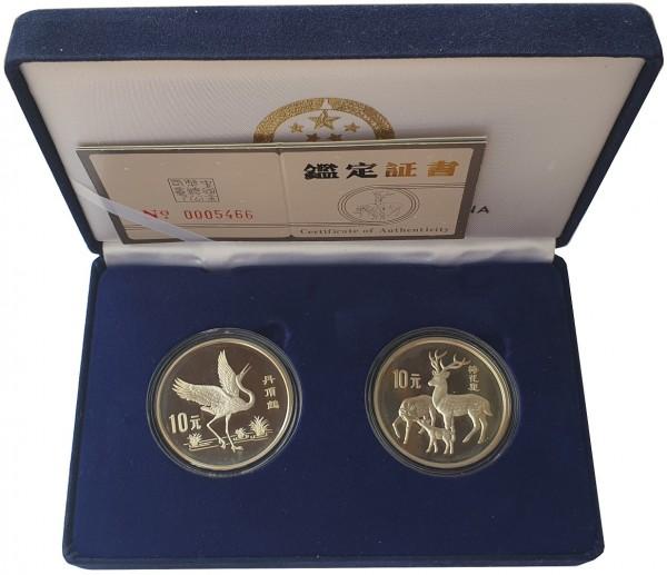 2 x 10 Yuan Silber Set - Tierschutz Kranich und Hirsche China 1989 PP im Etui