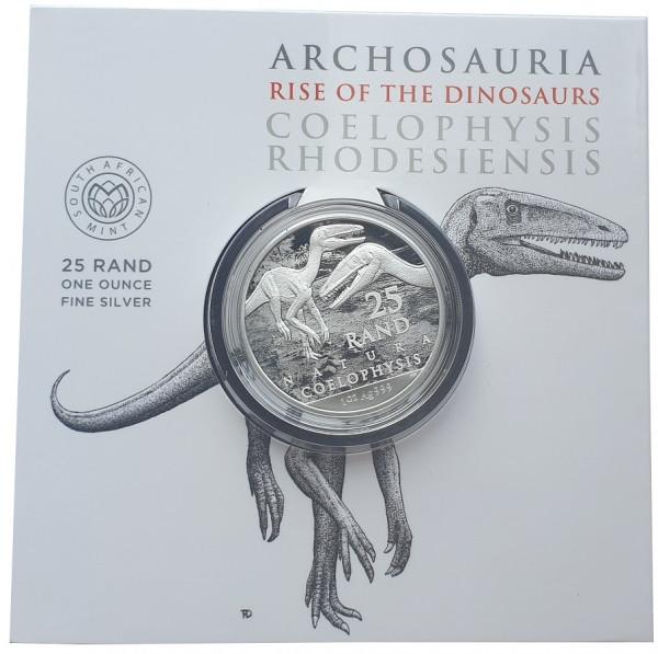 Süd Afrika 1 Oz Silber Coelophysis 2020 Dinosaurier Blisterkarte nur 15.000 Stück !