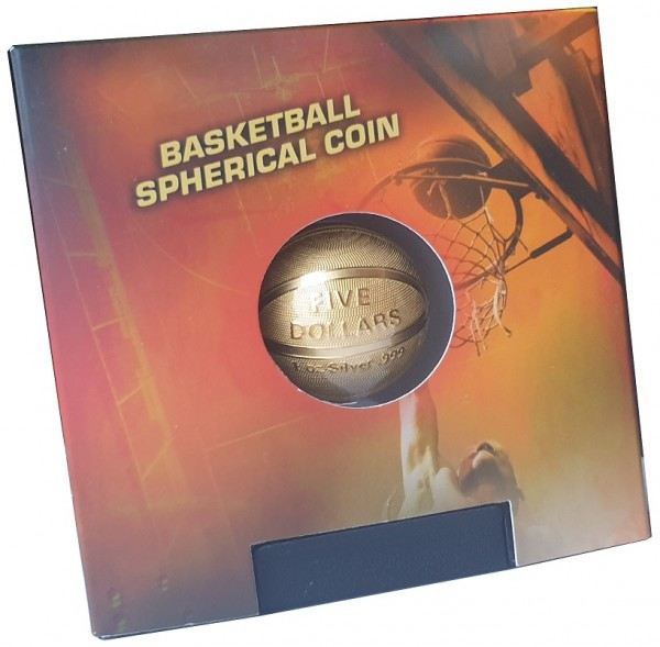 Samoa 1 Oz Silber Basketball Münze 3 D Spherical Coin 2020 vergoldet 2020 im Schweberahmen