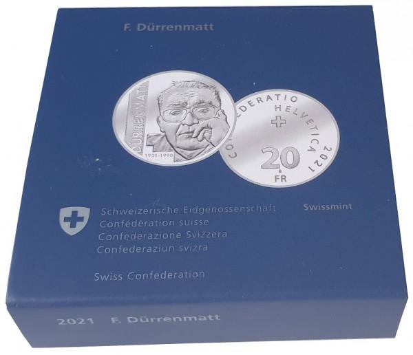 Schweiz 20 Franken Silber Friedrich Dürrenmatt 2021 Polierte Platte Künstlerzertifikat