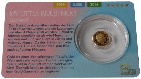 Salomonen 10 Dollars 0,5 gr Goldmünze Baby Elefant 2016