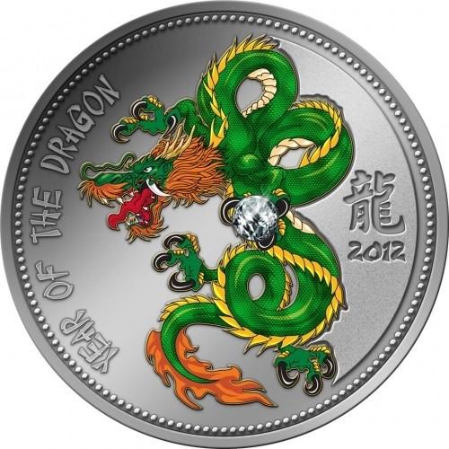Kamerun 1000 Francs Silbermünze Jahr des Drache mit Zirkonia 2012