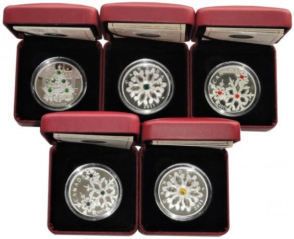 Sparpaket ! 5 x Canada 20 Dollars Silbermünzen mit Swarovski Crystallen 2011 Polierte Platte