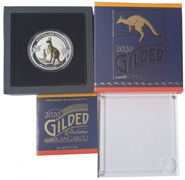 Australien 1 Oz Silber Känguru 2020 vergoldet Gilded im Etui