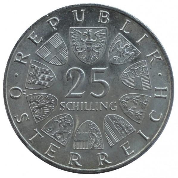 Österreich 25 Schilling Silbermünze Polierte Platte
