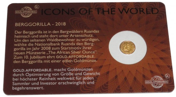 Ruanda 1/200 Oz Goldmünze Berggorilla 2018 Icons of the World