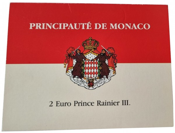Monaco 2 Euro Fürst Rainier 2003 Stempelglanz im Blister