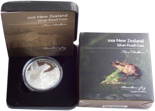B-Ware Neuseeland 1 Oz Silber Hamilton Frog 2008 PP im Etui