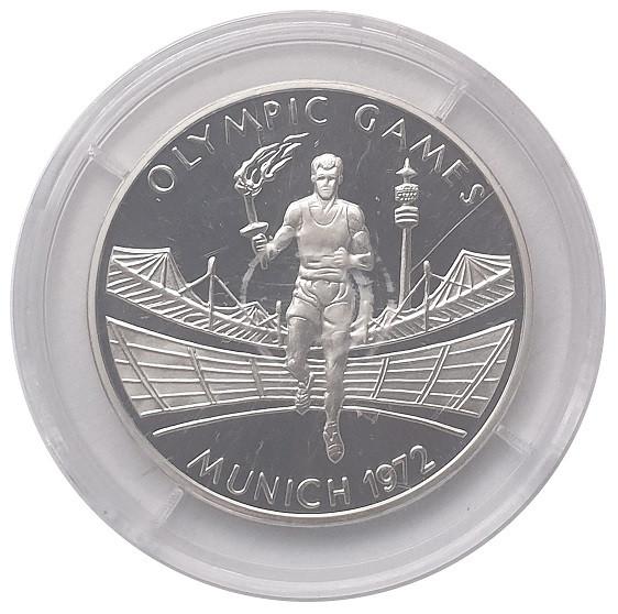 Zambia 500 Kwacha Silbermünze 2002 Fackelläufer Olympiade München 1972 Polierte Platte
