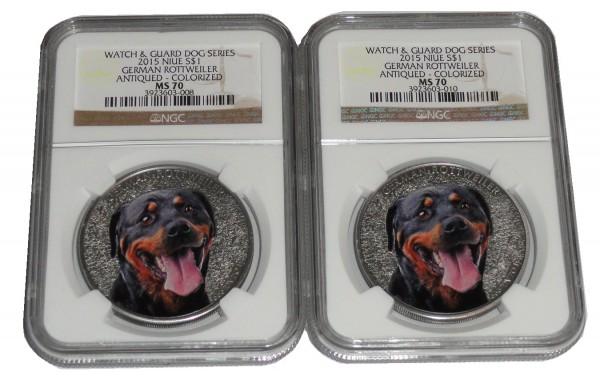 Niue 2 x 1 Dollar 1 Oz Silber German Rottweiler (Deutscher Rottweiler) Farbe NGC MS-70