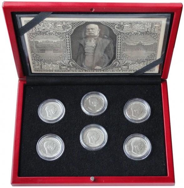 1 Kronen Silbermünzen - Set Kaiser Franz Joseph I. Habsburger Dynastie Österreich