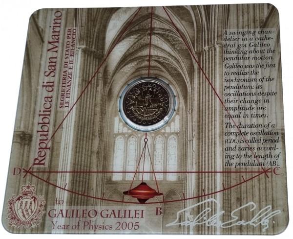 San Marino 2 Euro Gedenkmünze Galileo Galilei 2005 im Blister ohne Folder
