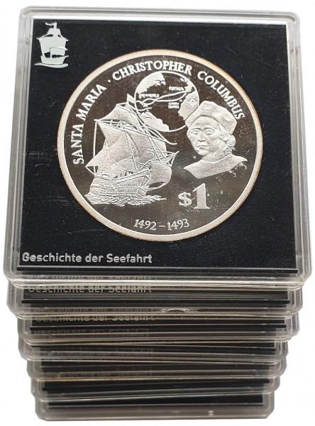 7 Silbermünzen Geschichte der Seefahrt Polierte Platte mit Echtheits - Zertifikate von MDM