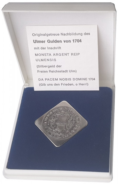 Ulmer Gulden von 1704 - Silbergeld der freien Reichsstadt Ulm. Originalgetreue Nachbildung