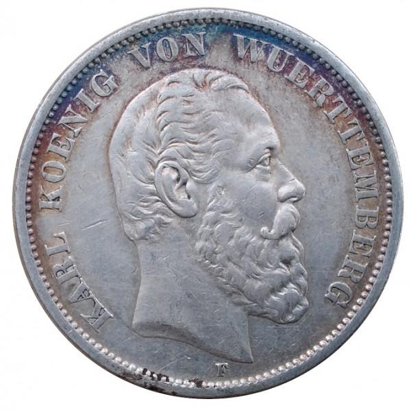Deutsches Kaiserreich 5 Mark Silber Karl König von Württemberg 1875 F
