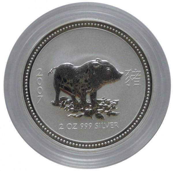 Australien 2 Oz Silber Lunar I Serie Schwein 2007